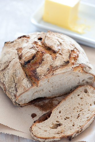rustic homemade sourdough bread and butter | by jules:stonesoup