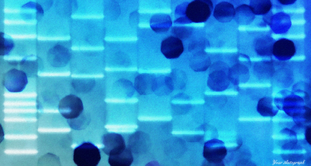 Unique abstract blue dna art portrait on canvas dna art for Personalized dna art