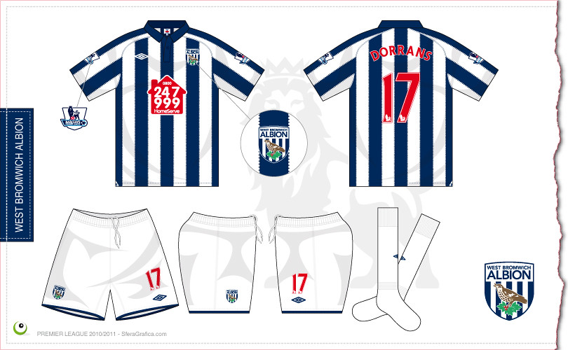 West bromwich albion home kit 2010 2011 sergio scala for Kit west homes