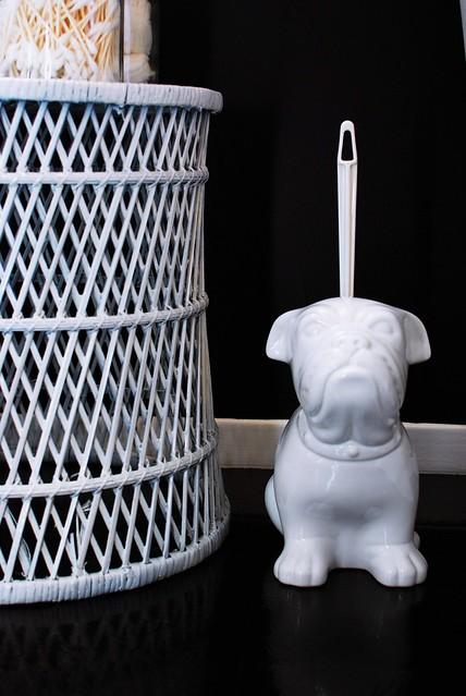 ceramic bulldog toilet brush holder flickr photo sharing. Black Bedroom Furniture Sets. Home Design Ideas