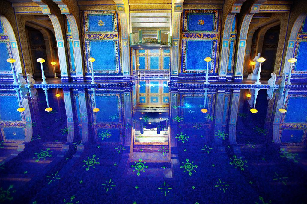 Blue Pool Reflection Hearst Castle Indoor Pool Roman Po