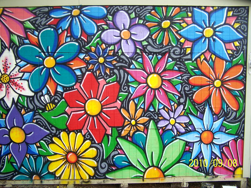 Grasp Flower Mural Flower Mural Using Sabotaz80 Ft