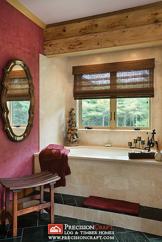 Milled Log Home Master Bathroom | PrecisionCraft Log Homes | by PrecisionCraft Log & Timber Homes