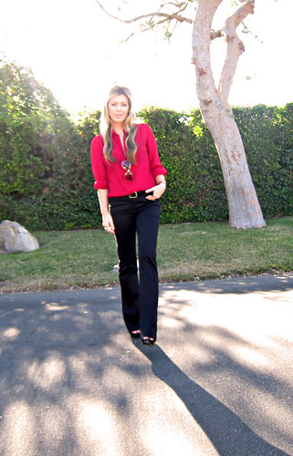 black flared trousers+red blouse+gold accessories+sun+tree+pg | by ...love Maegan