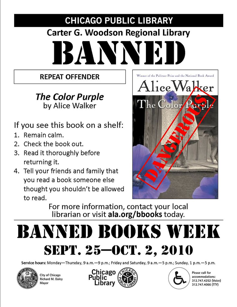 The Color Purple - Banned Books Week 2010 Flyer | by Alice W… | Flickr
