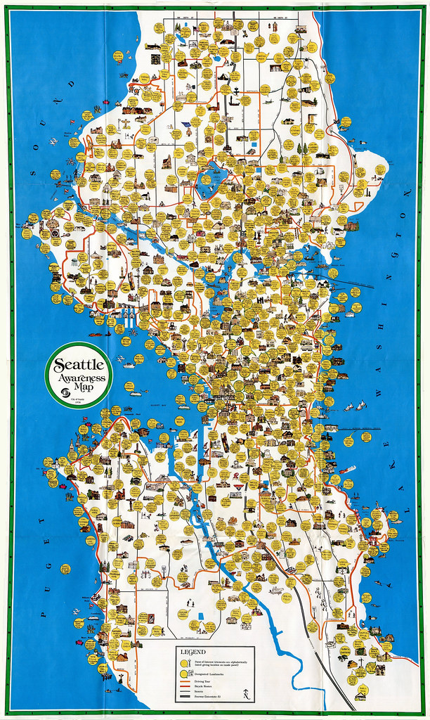 Seattle Awareness Map, 1978 | A cultural map of Seattle ... | 612 x 1024 jpeg 389kB