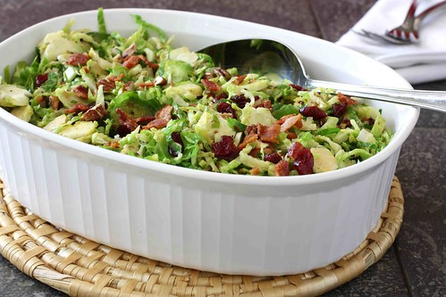 Shredded Brussels Sprouts with Bacon, Cranberries & Pecans Reicpe | by CookinCanuck