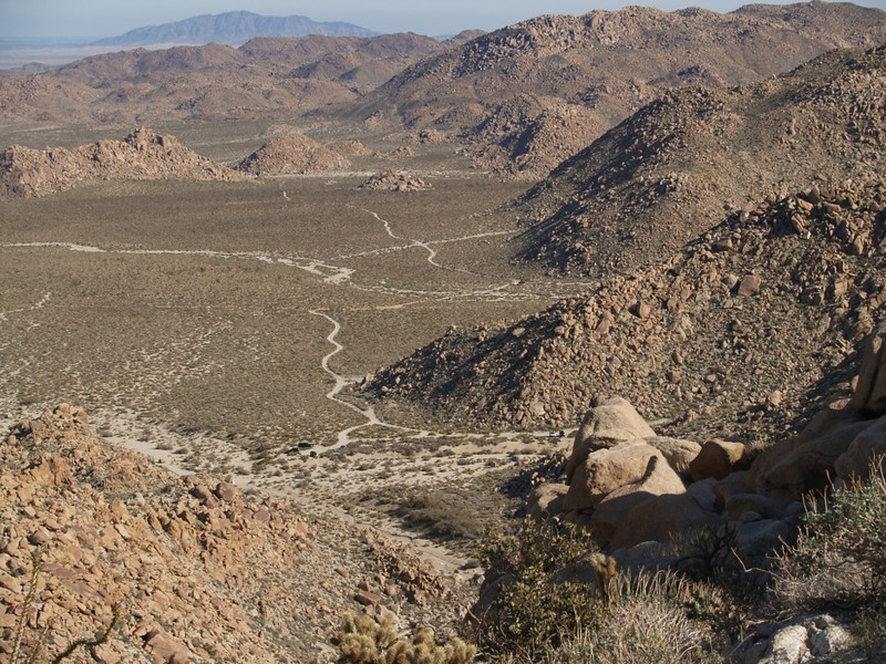 The view down-canyon toward the car in the Mortero Palms parking area