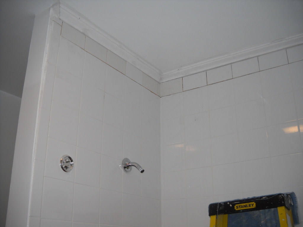 Shower Tiles & Crown Molding installed