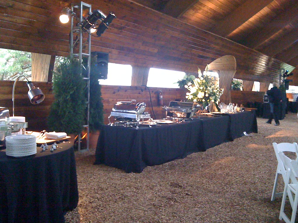 Buffet set up dishes and carving station on the