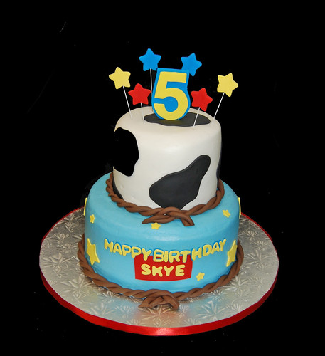 5th Birthday Cow print and stars 2 tiered cake for a Toy Story themed ...