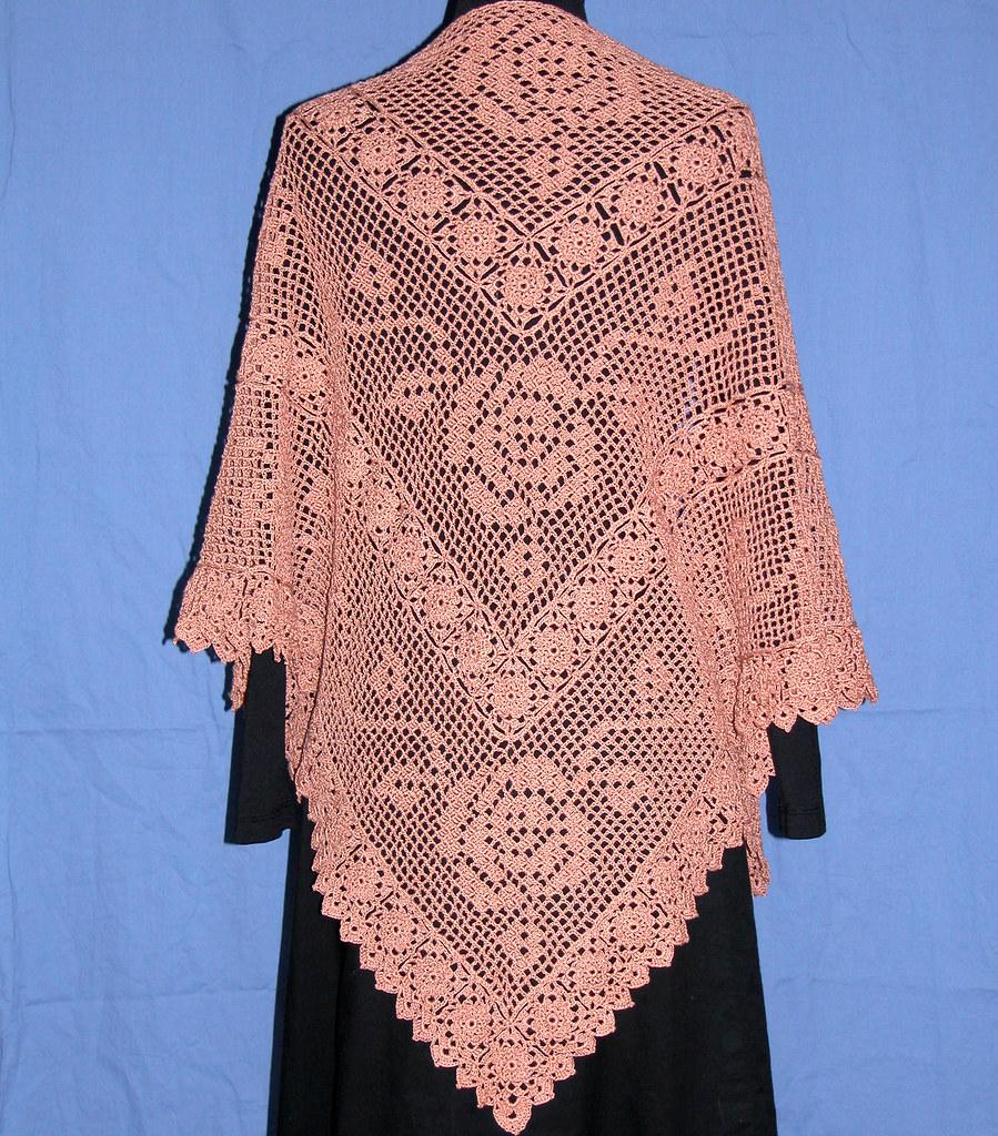 Vintage Rose Motif Thread Crochet Shawl Go To Crochetbykat Flickr