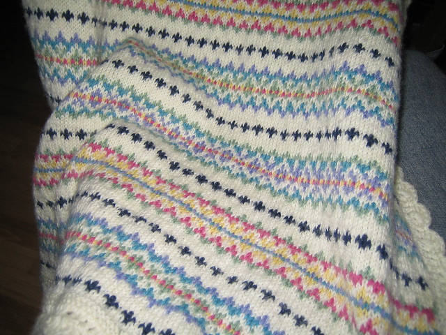 Knitted Baskets Free Patterns : Fair Isle Baby Blanket 1 Flickr - Photo Sharing!
