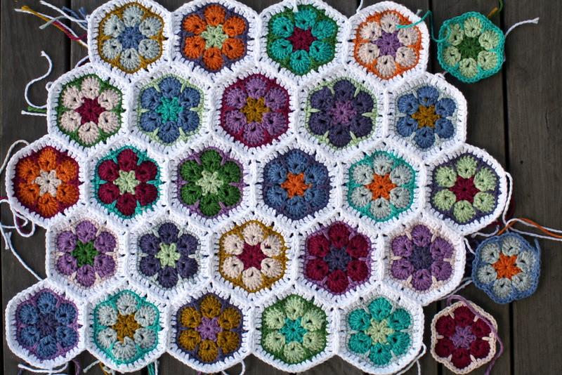 African Flower Crochet Pattern Half : African flower blanket Its growing slowly! blogged here ...