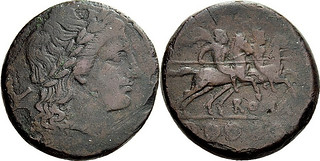 097/11 Luceria L Quincunx. Italian civic mint. L Apollo; Dioscuri / ROMA / ooooo. RR 18g28. Light issue, all known examples below 19g, but shares dies with RRC 97/3. | by Ahala
