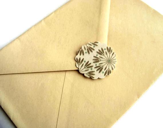 scalloped envelope sticker seals rustic brown set of 6 flickr