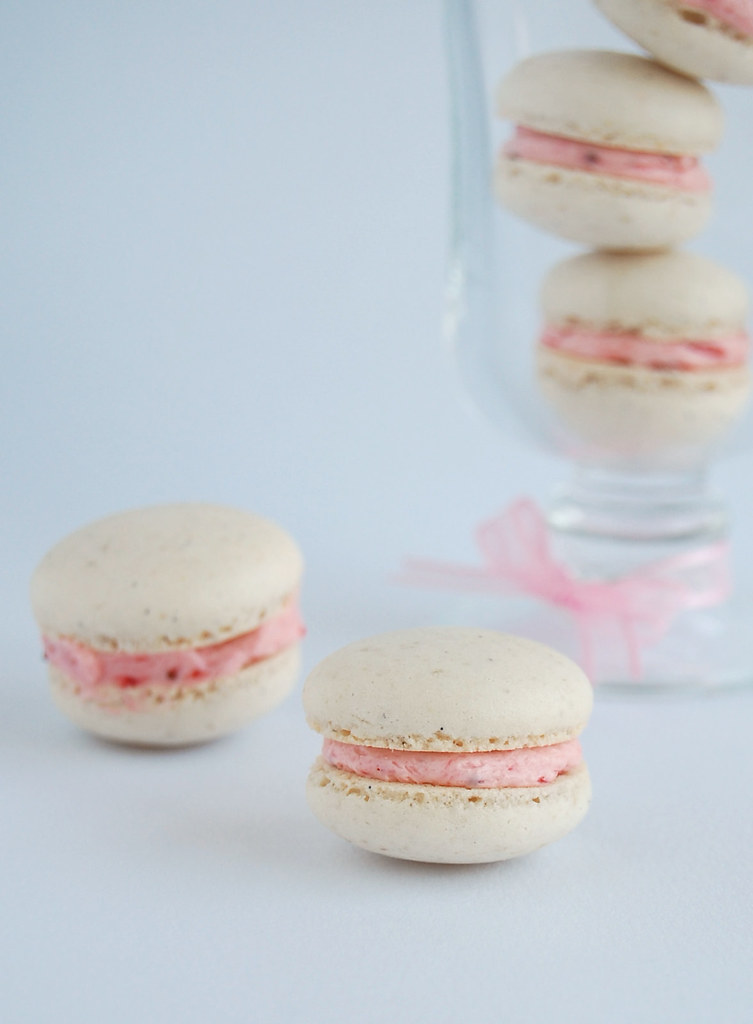 Vanilla bean macarons with roasted strawberry buttercream ...