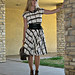 vintage plaid day dress+black wide obi belt+black necklace+black lace up shoes