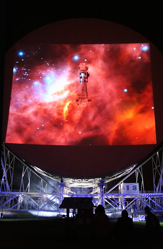Hubble Image Projected onto Lovell Telescope | by draggunn