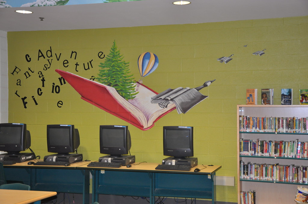 School murals barbara rocha flickr for Library painting ideas
