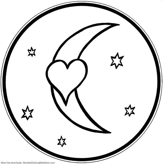 Printable children coloring page heart moon mandala for Moon and stars coloring pages