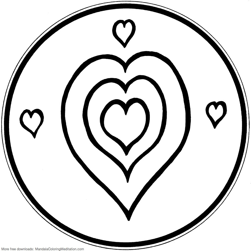 Printable Children Coloring Page Triple Heart Mandala
