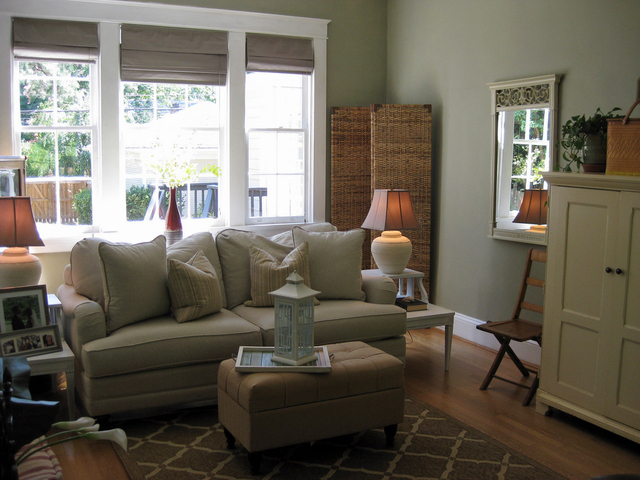 Sage green family room a farmhouse style living room for Sage green interior paint