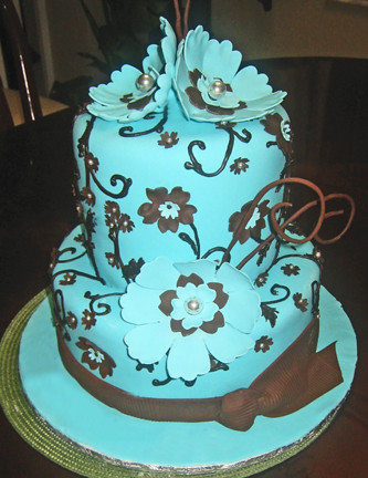 Tiffany Blue And Brown Cake Gumpaste Flowers
