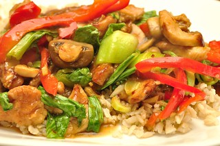 chicken and baby bok choy with red peppers and mushrooms | by jeffreyw