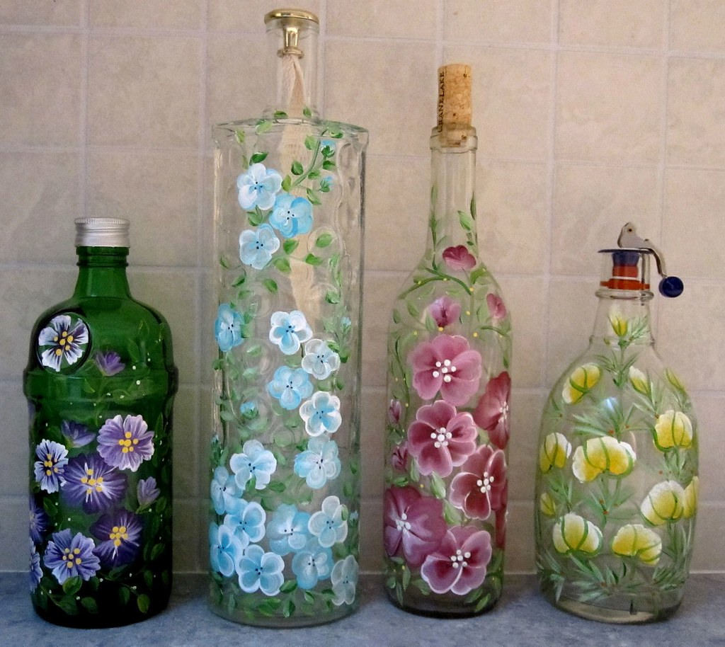 Ways To Decorate Glass Jars: Wine Bottles, Handpainted With