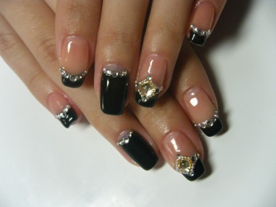 Gel Nail Black French With Stone Design Negril Nail Art Flickr