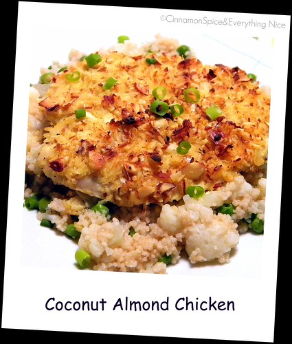 Coconut Almond Chicken with Sweet Pea Cauliflower Couscous | by CinnamonKitchn