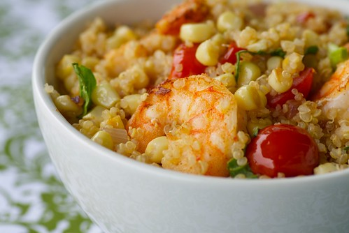 Quinoa and Shrimp with Fresh Corn and Cherry Tomatoes | by Food Blogga
