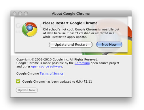 Old school's not cool. Google Chrome is woefully out of date because it hasn't crashed or restarted in a while. Restart to apply update. | by factoryjoe