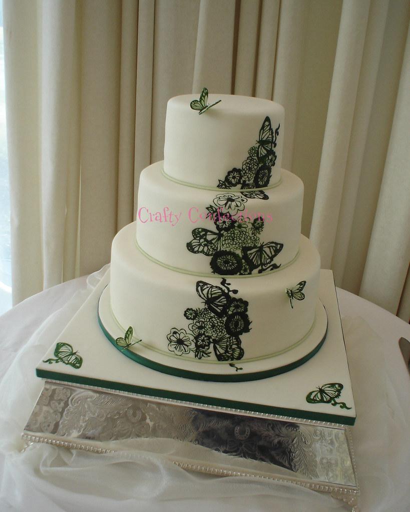 Handpainted Butterfly Design Wedding Cake The Dark Green Flickr - Healthy Wedding Cakes