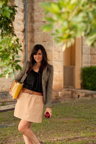 Gray Jacket Wool, Black Shirt and Khaki Skirt   HauteT   Flickr