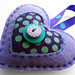 Felt Heart Ornament-Purple and Teal Dots
