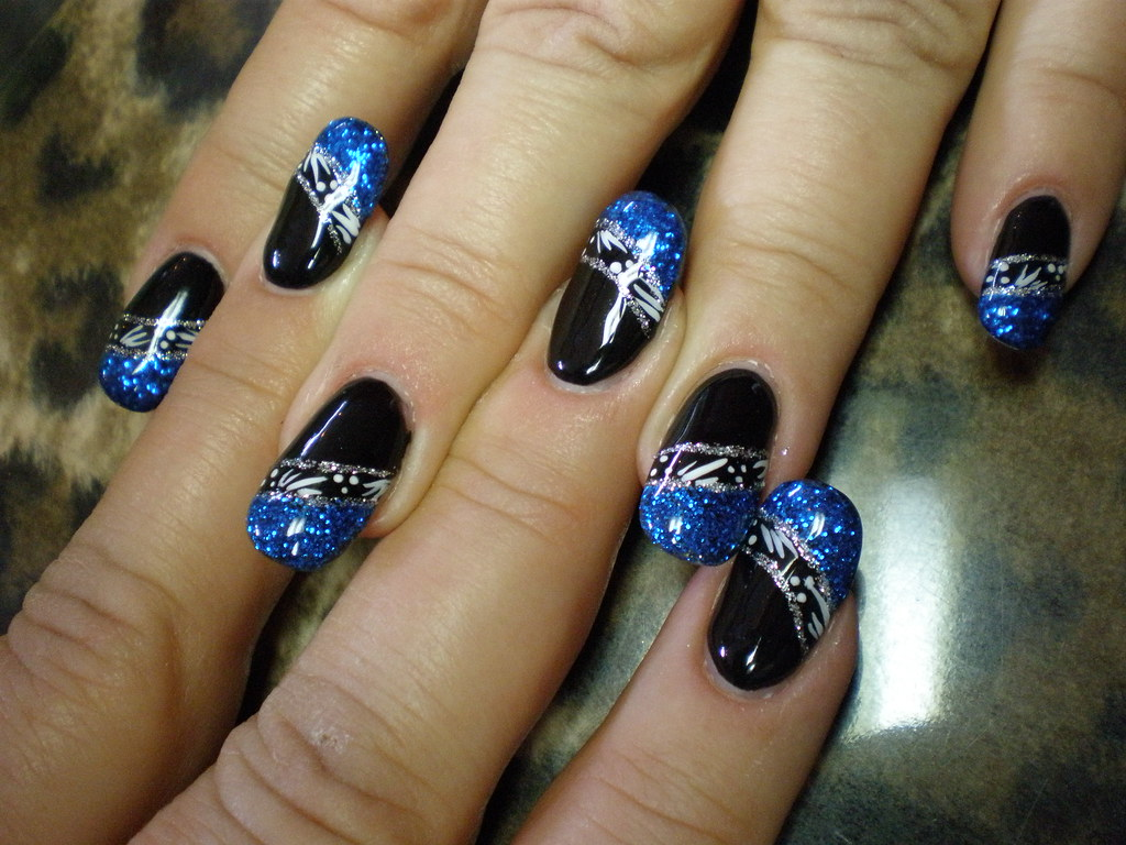 glitter french blau und schwarz nail art verzierung gel. Black Bedroom Furniture Sets. Home Design Ideas