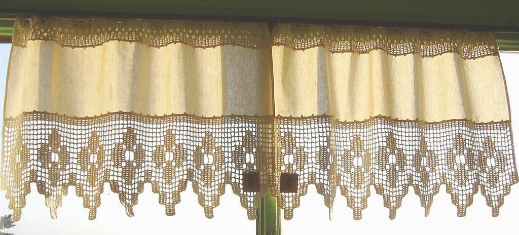 Cortinas de tela y crochet material tela e hilo de - Tela termica para cortinas ...