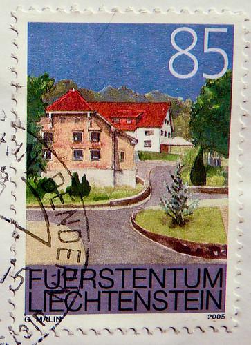 beautiful stamp liechtenstein 85 r painting of oberbender. Black Bedroom Furniture Sets. Home Design Ideas