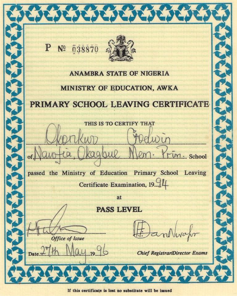 Prmary School Leaving Certificate Godwin Okonkwo Flickr