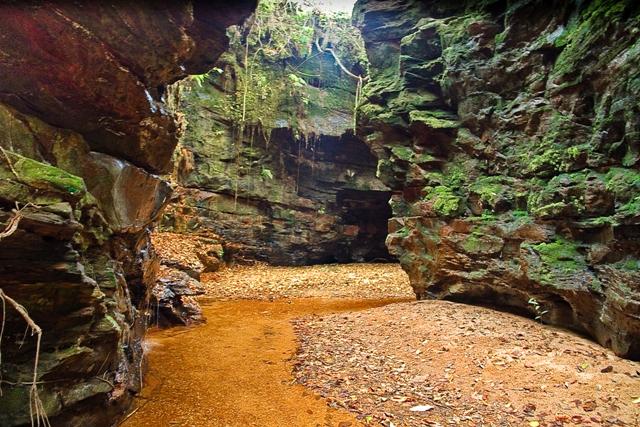 Le canyon Sussuapara ou Suçuapara, véritable havre ou sanctuaire de fraîcheur après de longs kilomètres de marche dans le cerrado (savane) brésilien. Tocantins, Brésil.
