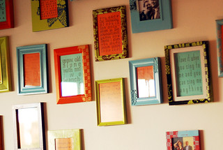 wall of framed song lyrics | by -leethal-