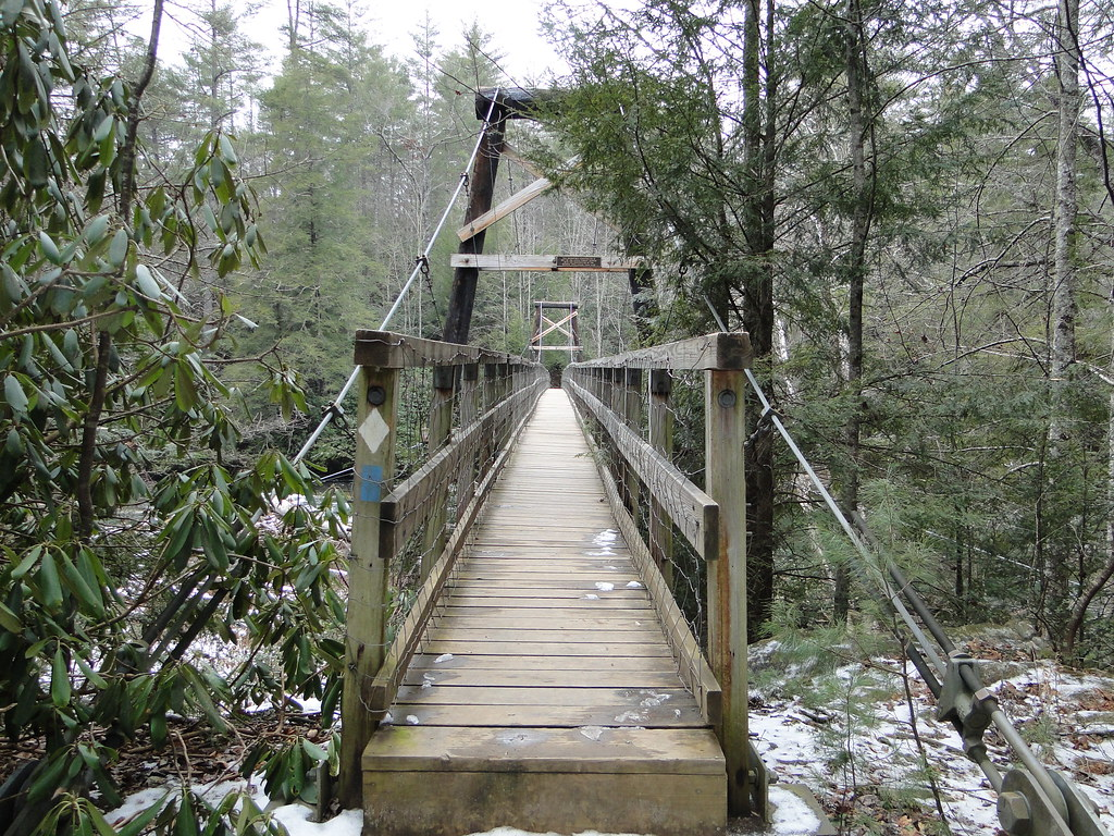 The Swinging Bridge During Winter Toccoa River Ocoee