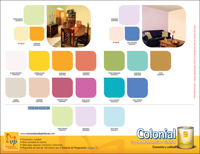 Carta de colores colonial vp retiro venezolana de for Catalogo pinturas bruguer