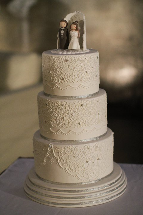 My Silver N White Lace Wedding Cake Three Tier Cake Dummie Flickr