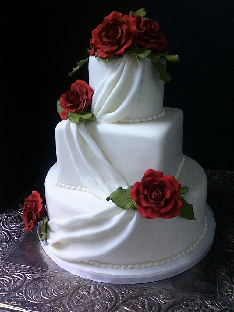 Small Fondant Draped Wedding Cake With Sugar Roses