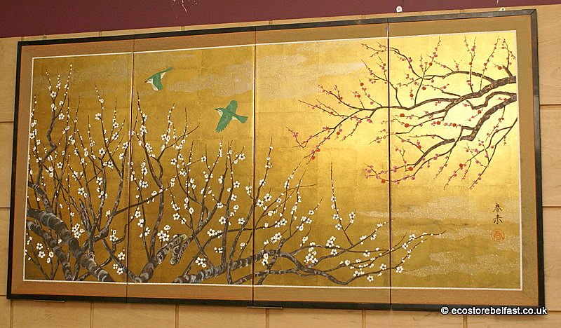 Wall Decor Gold Leaves : Large japanese hand painted on gold leaf wall art folding