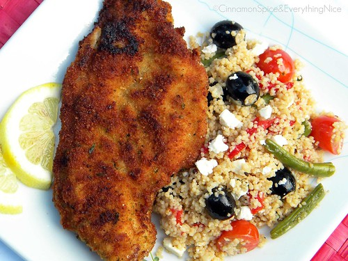 Lemon Chicken Milanese with Couscous Salad | by CinnamonKitchn