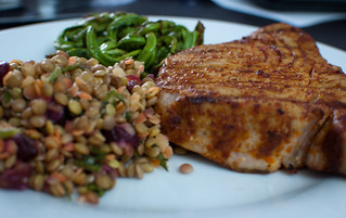 Tuna steak, fiddleheads, lentil and cranberry salad | by Naveg